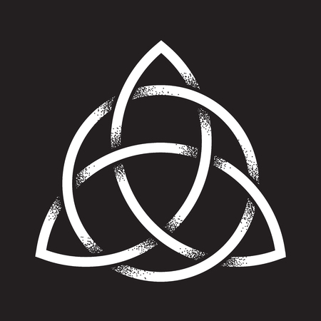Triquetra or Trinity knot. Hand drawn dot work ancient pagan symbol of eternity and trinity isolated vector illustration. Black work, flash tattoo or print design. Illustration