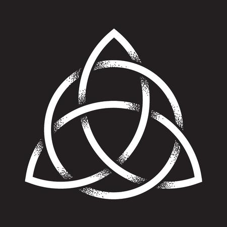 Triquetra or Trinity knot. Hand drawn dot work ancient pagan symbol of eternity and trinity isolated vector illustration. Black work, flash tattoo or print design. Illusztráció