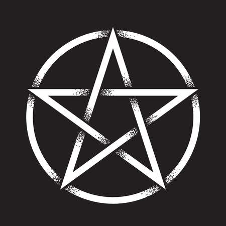 Pentagram or pentalpha or pentangle. Hand drawn dot work ancient pagan symbol of five-pointed star isolated vector illustration. Black work, flash tattoo or print design.