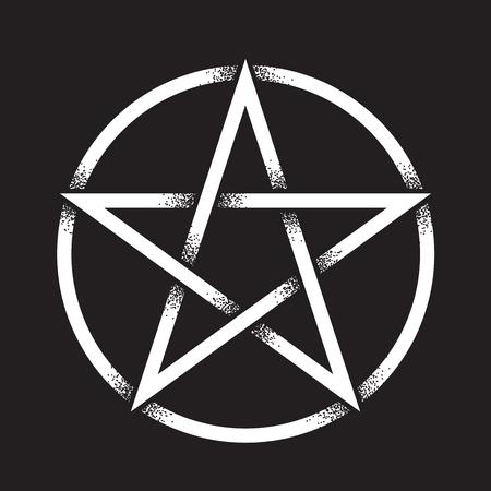 Pentagramme ou pentalpha ou pentangle. Point dessiné à la main fonctionne ancien symbole païen de l'illustration vectorielle étoile à cinq branches isolée. Travail noir, tatouage flash ou design imprimé. Banque d'images - 95206822