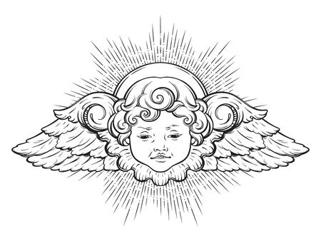 ケルブかわいい翼カーリー笑顔の男の子の天使は、白い背景の上に隔離されたリントの光線を持っています。手描きのデザイン ベクトルのイラスト。
