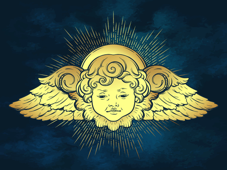 Gold cherub cute winged curly smiling baby boy angel with rays of linght over blue sky background. Hand drawn design or fabric print vector illustration. Ilustração