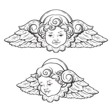 Cherub cute winged curly smiling baby boy angel set isolated over white background. Hand drawn design vector illustration. Stock Illustratie