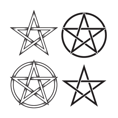 Set of pentagram or pentalpha or pentangle. Hand drawn dot work ancient pagan symbol of five-pointed star isolated vector illustration. Black work, flash tattoo or print design.
