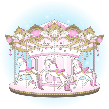Carousel la belle epoque, cute merry go round with horses design for kids in pastel colors hand drawn vector illustration.