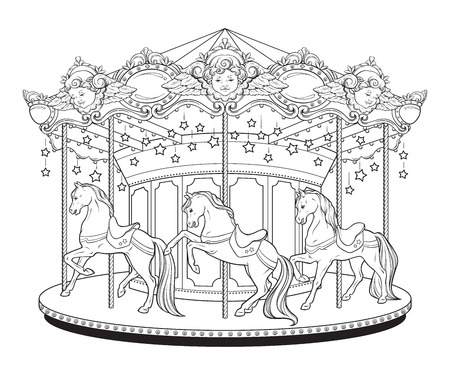 Carousel la belle epoque, cute merry go round with horses coloring book pages for kids and adults hand drawn vector illustration.