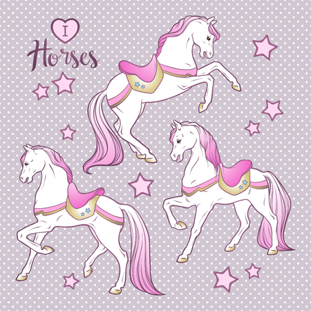 Cute horses and stars set hand drawn design