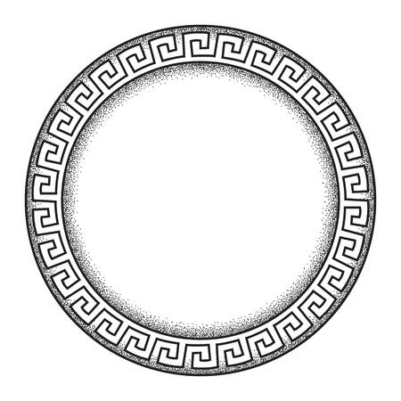 Antique greek style meander ornanent hand drawn line art and dot work round frame design vector illustration