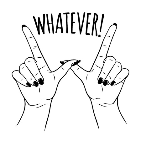 Hand drawn female hands in W for WHATEVER gesture. Flash tattoo, sticker, patch or print design vector illustration Illustration