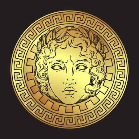 Antique style sun with face of the Greek and roman god Apollo. Hand drawn icon or print design art vector illustration. Banque d'images - 98539014