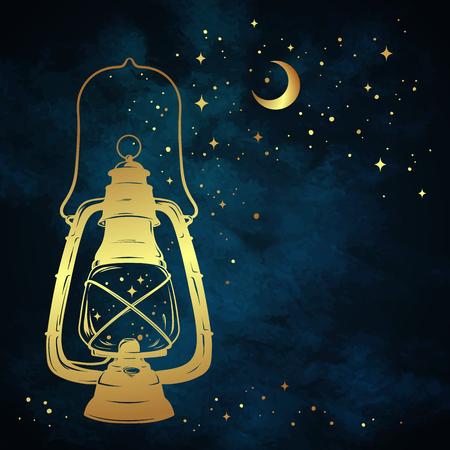 Golden magic oil lantern or kerosene lamp over blue night sky background with gold moon and stars hand drawn vector illustration