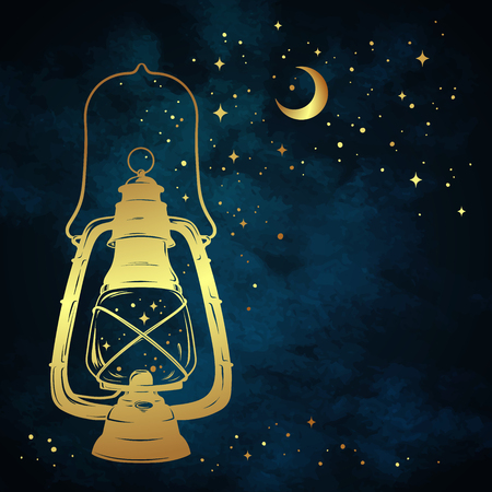 Golden magic oil lantern or kerosene lamp over blue night sky background with gold moon and stars hand drawn vector illustration