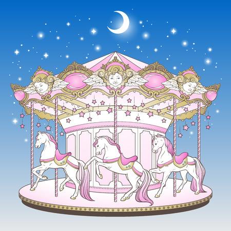 Merry go round z końmi na niebieskim nocnym niebie z księżycem i gwiazdami ręcznie rysowane nadruk dla dzieci w pastelowych kolorach ilustracji wektorowych