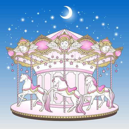 Merry go round with horses over blue night sky with moon and stars hand drawn print design for kids in pastel colors vector illustration