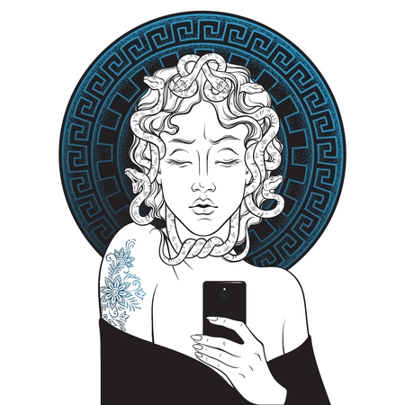 Medusa Gorgon selfie hand drawn line art and dot work pop print design, isolated vector illustration.