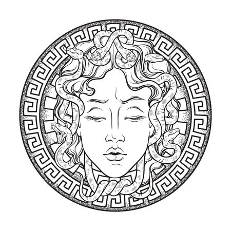 メドゥーサゴルゴンは、シールドハンド描きのラインアートとドットワークの入れ墨やプリントデザインの孤立したベクトルイラストに頭。ゴルゴ