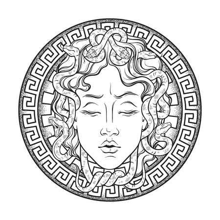 Medusa Gorgon head on a shield hand drawn line art and dot work tattoo or print design isolated vector illustration. Gorgoneion is a protective amulet Stock Vector - 99016161