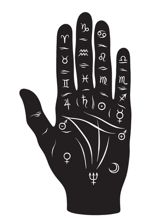 Palmistry or chiromancy hand with signs of the planets and zodiac signs black and white hand drawn design isolated vector illustration. Vettoriali