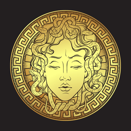 Medusa Gorgon golden head on a shield hand drawn line art and dot work print design isolated vector illustration. Gorgoneion is a protective amulet