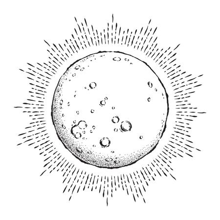 Arte de línea dibujado a mano de estilo antiguo y luna llena de trabajo de puntos con rayos de luz. Ilustración de vector