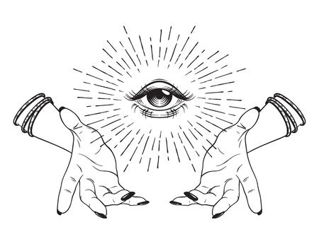 Hand-drawn Eye of Providence in hands of witch, all seeing eye, conspiracy theory, alchemy, religion, spirituality, print or tattoo design vector illustration Çizim