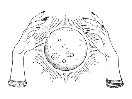 Hand drawn full moon with rays of light in hands of fortune teller line art and dot work. Boho chic tattoo, poster or altar veil print design vector illustration