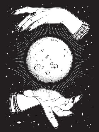 Luna llena dibujada a mano con rayos de luz en manos del arte de línea de adivino y trabajo de puntos. Boho chic tatuaje, cartel o ilustración de vector de diseño de impresión de velo de altar