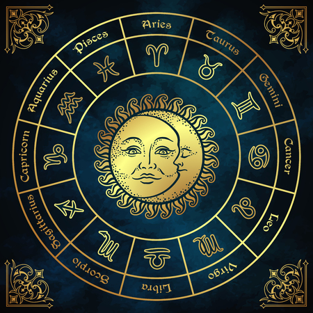 Zodiac circle with horoscope signs, sun and moon hand drawn vintage style vector illustration design.