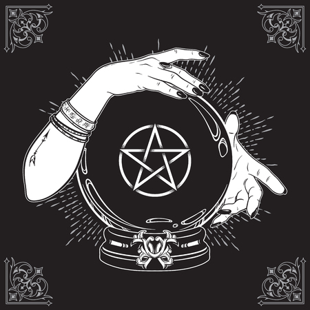 Hand drawn magic crystal ball with pentagram star in hands of fortune teller line art and dot work. Boho chic tattoo, poster or altar veil print design vector illustration Ilustracja