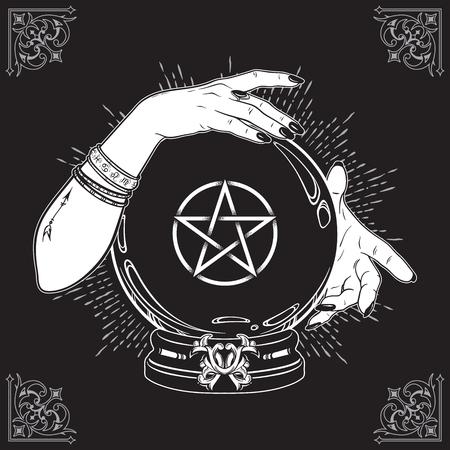Hand drawn magic crystal ball with pentagram star in hands of fortune teller line art and dot work. Boho chic tattoo, poster or altar veil print design vector illustration Stock Illustratie