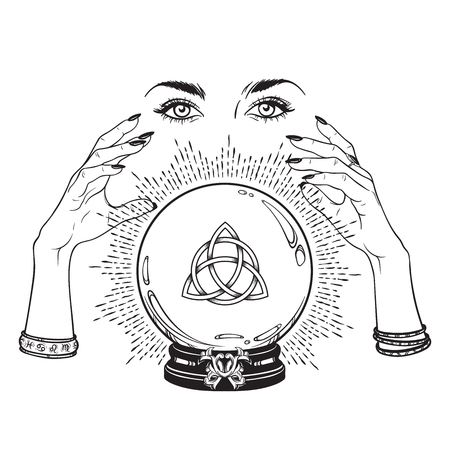 Hand drawn magic crystal ball with Triquetra or Trinity knot in hands of fortune teller line art and dot work. Boho chic tattoo, poster or altar veil print design vector illustration Ilustracja