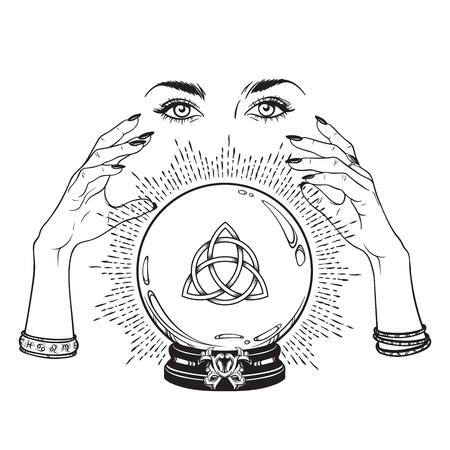 Hand gezeichnete magische Kristallkugel mit Triquetra- oder Dreifaltigkeitsknoten in den Händen der Wahrsager-Linienkunst und der Punktarbeit. Boho schickes Tattoo, Plakat oder Altarschleier drucken Designvektorillustration