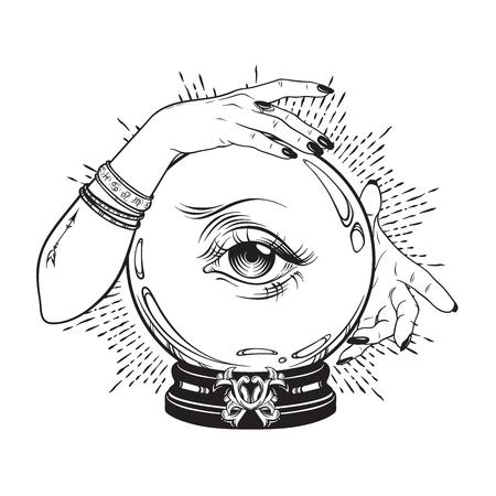 Sfera di cristallo magica disegnata a mano con l'occhio della provvidenza nelle mani del cassiere di fortuna. Boho chic line art tattoo, poster o altare velo print design illustrazione vettoriale