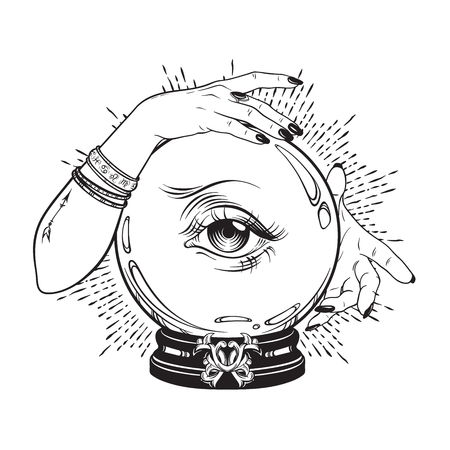 Hand drawn magic crystal ball with eye of providence in hands of fortune teller. Boho chic line art tattoo, poster or altar veil print design vector illustration