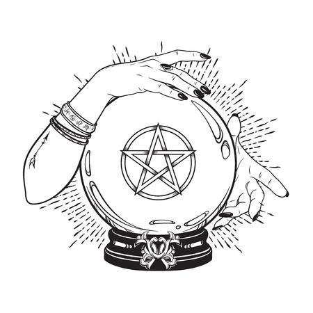 Hand drawn magic crystal ball with pentagram star in hands of fortune teller line art and dot work. Boho chic tattoo, poster or altar veil print design vector illustration Illustration