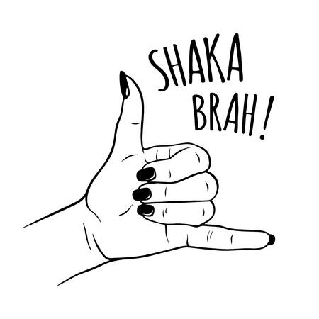 Hand drawn female hand in shaka gesture. Flash tattoo, blackwork, sticker, patch or print design vector illustration.