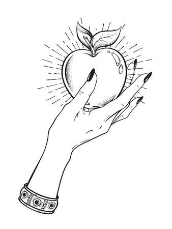 Apple in female hand isolated hand drawn line art and dot work vector illustration. Boho sticker, print or blackwork flash tattoo design
