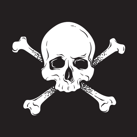 Jolly Roger human skull with crossbones isolated hand drawn vector illustration. Print, logo template, poster, sticker, flash tattoo or t-shirt design