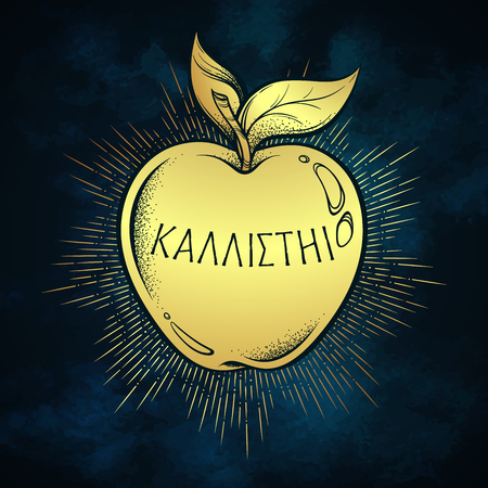 Golden apple of discord, hellenistic mythology, gift to a goddesses. Inscription on ancient greek says - For the fairest. Boho sticker, print or blackwork flash tattoo design vector illustration