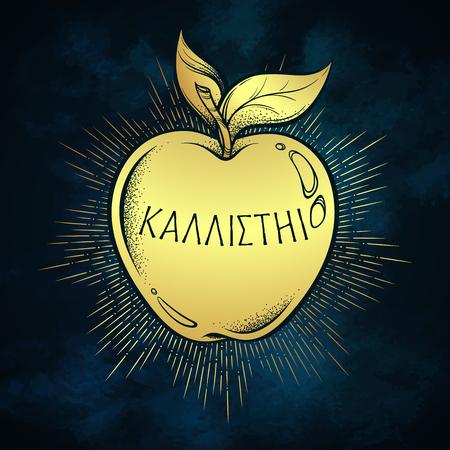 Goldener Apfel der Zwietracht, hellenistische Mythologie, Geschenk an eine Göttin. Inschrift auf Altgriechisch sagt - Für die Schönsten. Boho Aufkleber, Druck oder Blackwork Flash Tattoo Design Vektor-Illustration Vektorgrafik