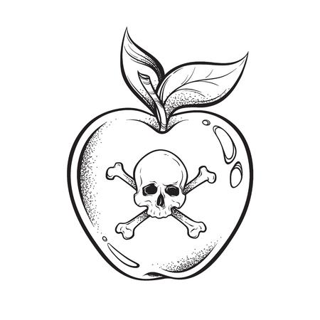 Poison apple line art e dot lavoro disegnato a mano illustrazione vettoriale. Adesivo in stile boho, patch, stampa o disegno del tatuaggio flash blackwork Vettoriali