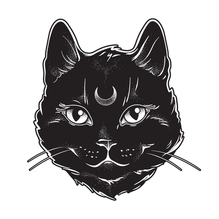 Cute black cat with moon on his forehead line art and dot work. Wiccan familiar spirit, halloween or pagan witchcraft theme tapestry print design vector illustration Illusztráció