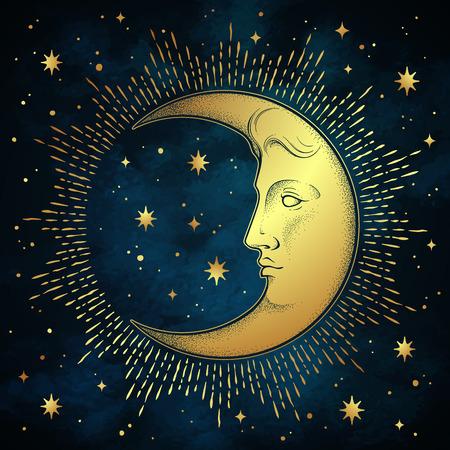 Mezzaluna e stelle in stile antico disegnato a mano linea arte e dotwork. Tatuaggio boho chic, poster, velo d'altare, arazzo o illustrazione vettoriale di stampa su tessuto