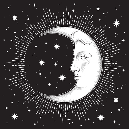Croissant de lune et étoiles dans des dessins au trait dessinés à la main de style antique et dotwork. Tatouage bohème chic, affiche, voile d'autel, tapisserie ou illustration vectorielle de conception d'impression de tissu