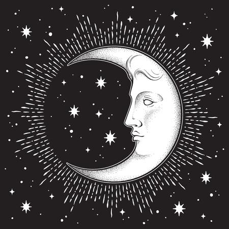 Luna creciente y estrellas en estilo antiguo dibujado a mano arte lineal y dotwork. Boho chic tatuaje, cartel, velo de altar, tapiz o diseño de impresión de tela ilustración vectorial