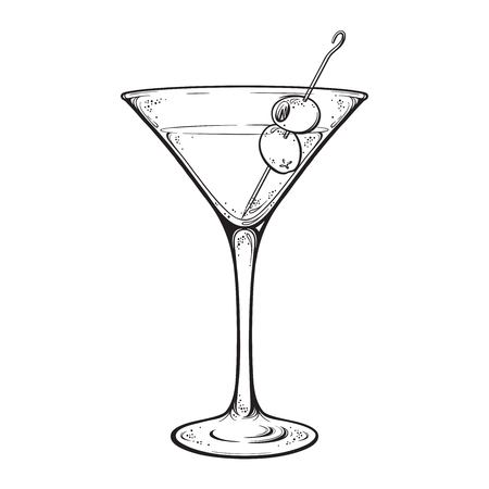 Martini with olive alcoholic cocktail in glass isolated on white background hand drawn vintage style line art vector illustration