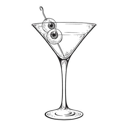 Martini met oogbollen cocktail in glas halloween ontwerp hand getrokken lijn kunst vectorillustratie