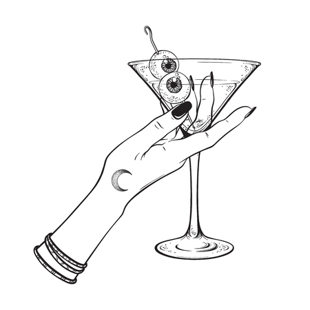 Martini with eyeballs cocktail in hand of witch halloween design line art vector illustration Illustration