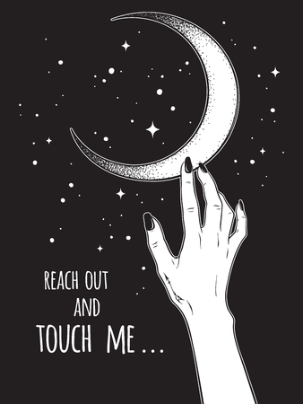 Female hand reaching out to the Moon vector illustration. Black work, dot work, line art, flash tattoo, poster or print design