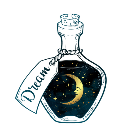 Hand drawn dream in bottle or wish jar with crescent moon and stars isolated. Sticker, print or tattoo design vector illustration Illusztráció